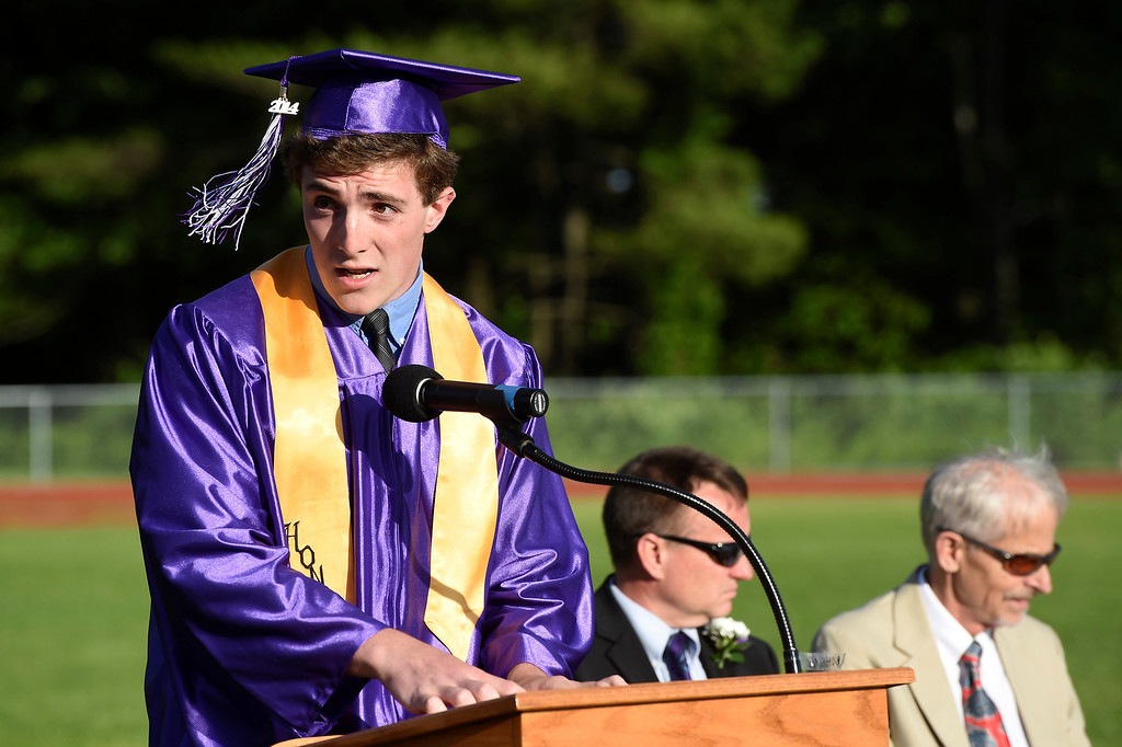 Description of . Kayla Rice/Reformer Colby Leaver McGinn speaks at the BUHS graduation ceremony on Friday evening.