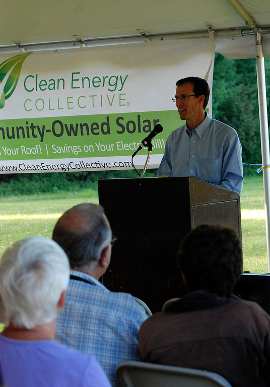 Description of . Kayla Rice/Reformer                                 Clean Energy Collective President and Founder, Paul Spencer speaks during the grand opening of the newly built community solar array in Putney.
