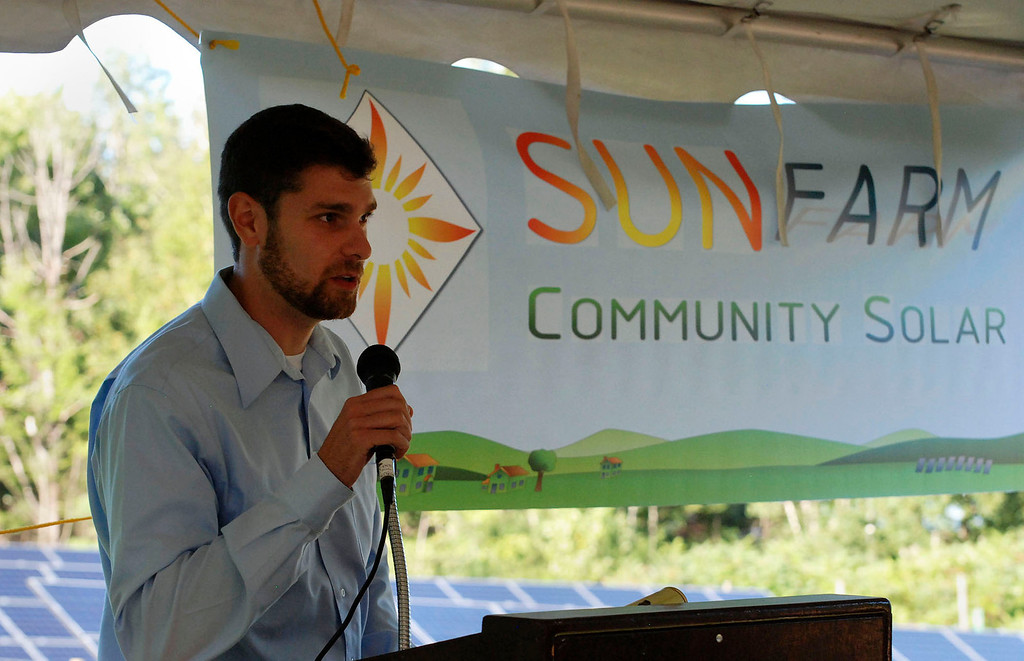 Description of . Kayla Rice/Reformer                                 Nick Ziter, founder of SunFarm Community Solar, speaks during the grand opening of the newly built community solar array in Putney.