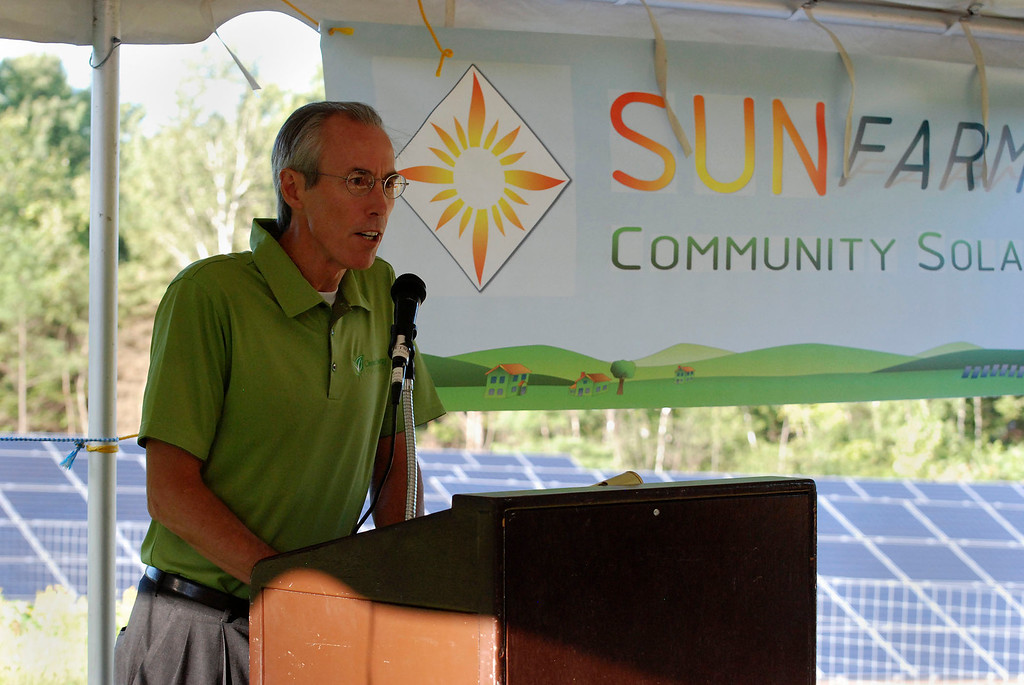 Description of . Kayla Rice/Reformer                                 Clean Energy Collective's Vice President of Strategic Development, Jim Hartman speaks during the grand opening of the newly built community solar array in Putney.