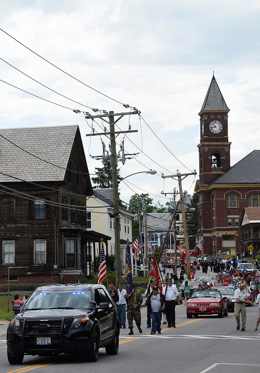 Description of . Kayla Rice/Reformer The Hinsdale Memorial Day parade makes its way down Main St. in Hinsdale, N.H. on Monday morning.