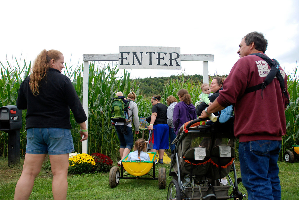 Description of . Kayla Rice/Reformer People enter the corn maze at Gaines Farm in Guilford.