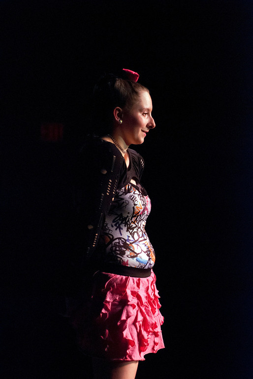 Description of . Kayla Rice/Reformer Israel Cavanagh poses on the runway during the 2014 Brattleboro Winter Carnival's Queen's Pageant on Friday night.