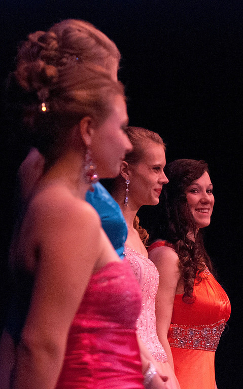 Description of . Kayla Rice/Reformer Queen contestants line up during the 2014 Brattleboro Winter Carnival Queen's Pageant on Friday evening.