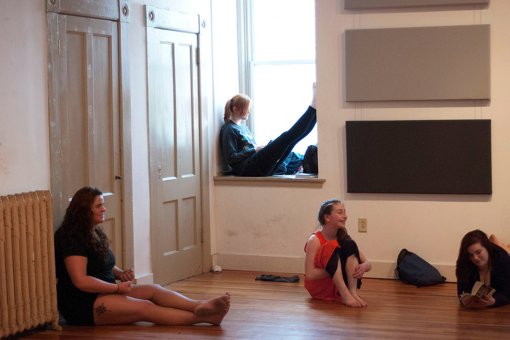 Description of . Kayla Rice/Reformer                                 Dancers from IBIT (Intrinsic Beauty of Invisible Things) wait their turn while rehearsing at their Elliot St. studio in Brattleboro on Tuesday afternoon.