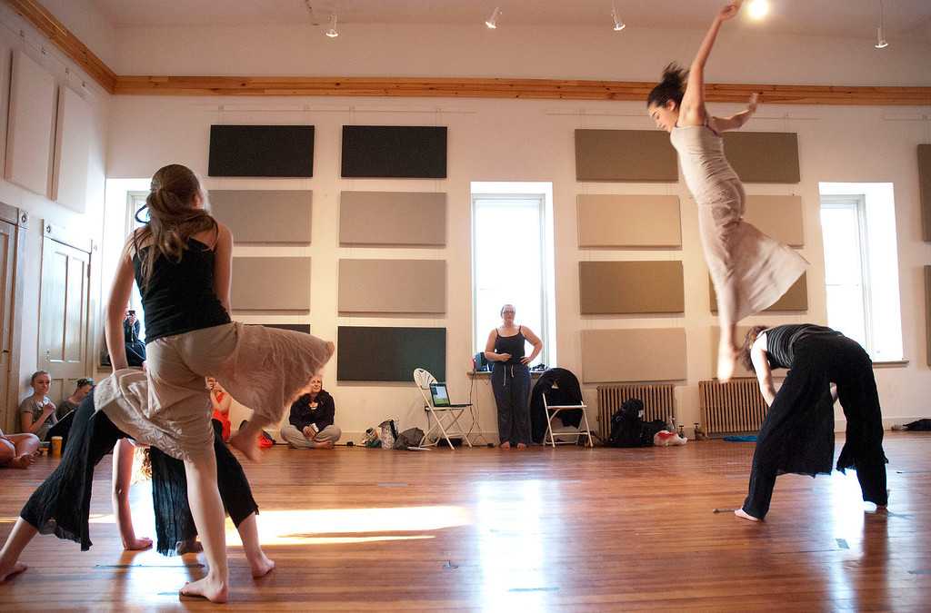 Description of . Kayla Rice/Reformer                                 Dancers from IBIT (Intrinsic Beauty of Invisible Things) rehearse at their Elliot St. studio in Brattleboro on Tuesday afternoon.