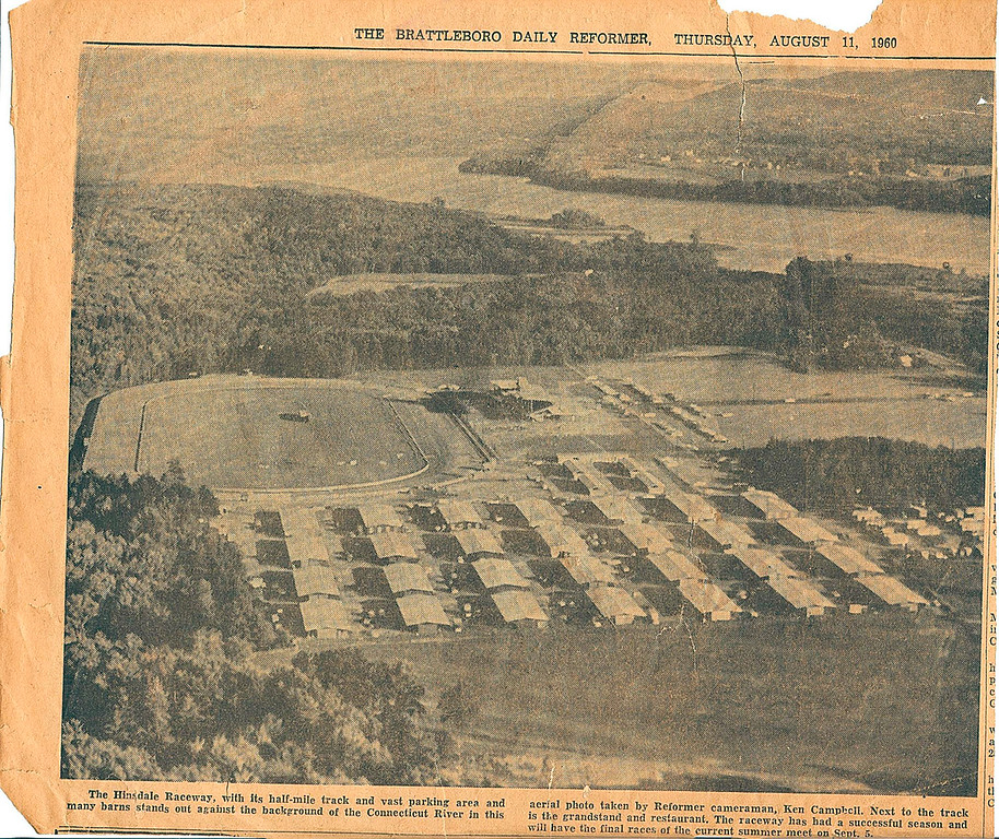 Description of . This clipping from the Brattleboro Daily Reformer shows an aerial view of the race track from August 1960.
