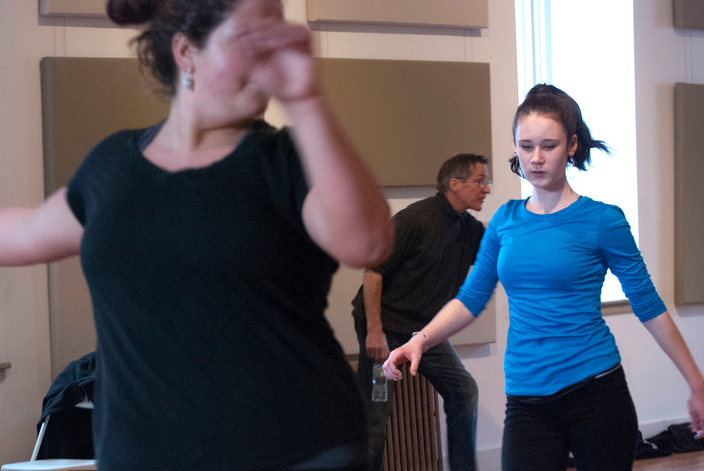 Description of . Kayla Rice/Reformer                                 Dancers (from left) Tasha Warshaw, 18, and Zoe Flagollet, 16, from IBIT (Intrinsic Beauty of Invisible Things) rehearse at their Elliot St. studio in Brattleboro on Tuesday afternoon.