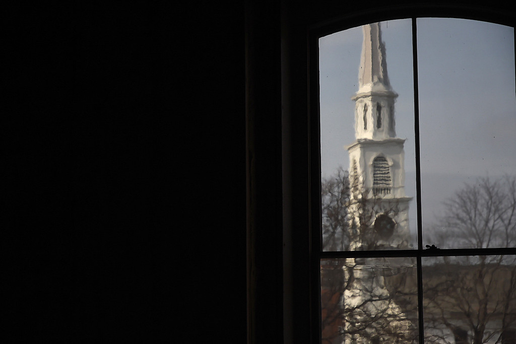 Description of . Kayla Rice/Reformer The Centre Church in Brattleboro seen from a window inside the Brooks House.