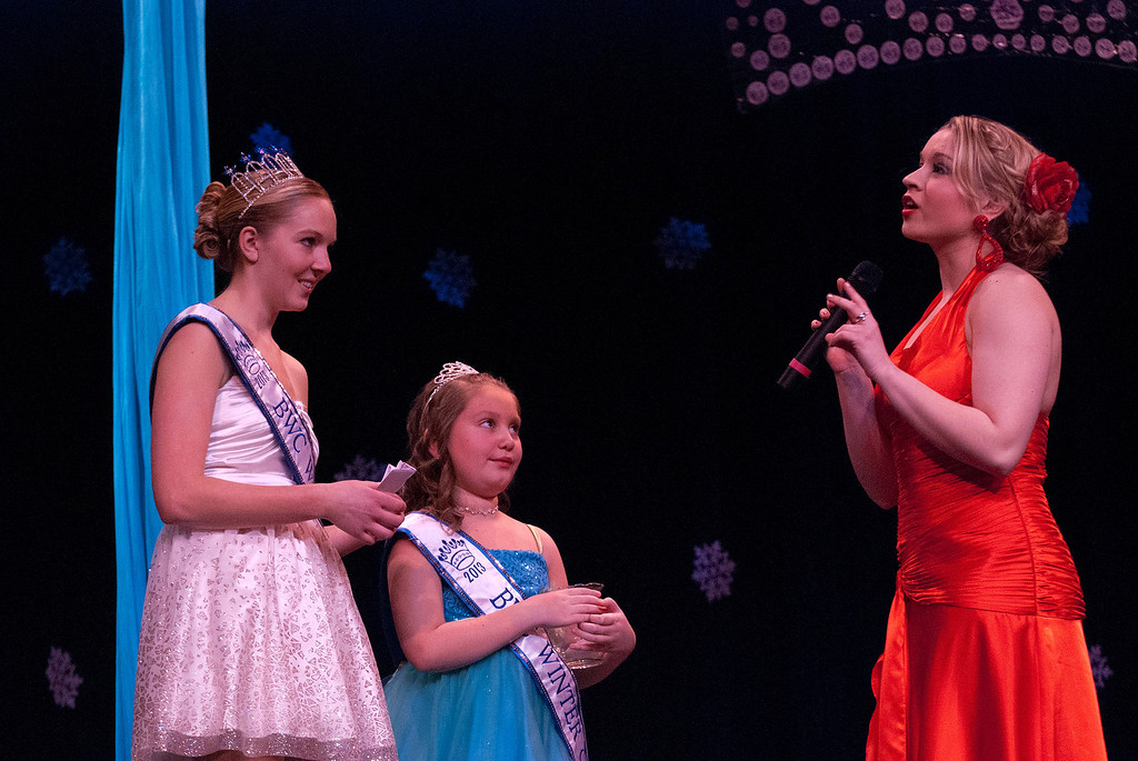 Description of . Kayla Rice/Reformer Kara Walsh answers a question during the 2014 Brattleboro Winter Carnival's Queen's Pageant on Friday night.