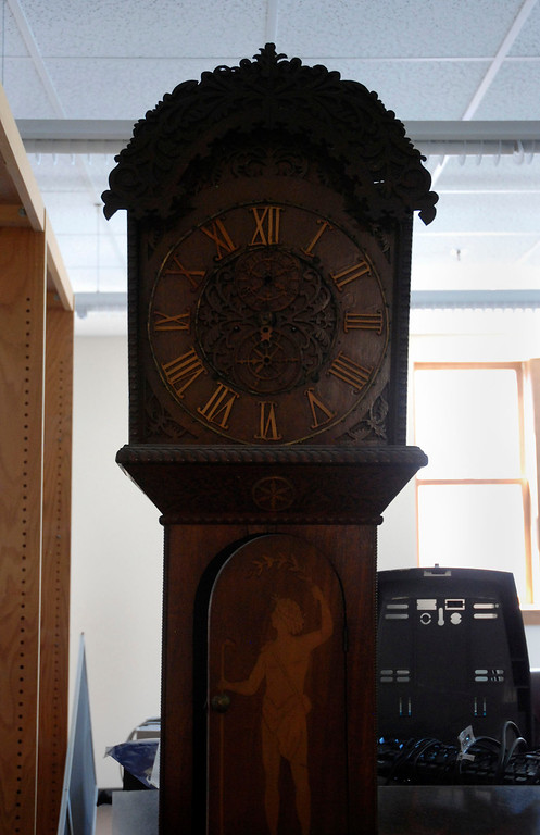 Description of . Kayla Rice/Reformer                                 A clock in the newly renovated Rockingham Public Library in Bellows Falls.