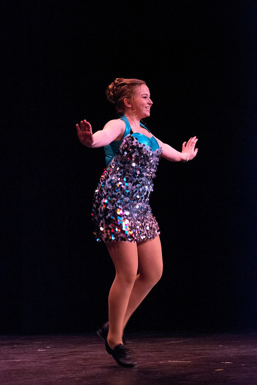 Description of . Kayla Rice/Reformer Katie Burroughs tap dances for the talent portion of the 2014 Brattleboro Winter Carnival's Queen's Pageant on Friday night.