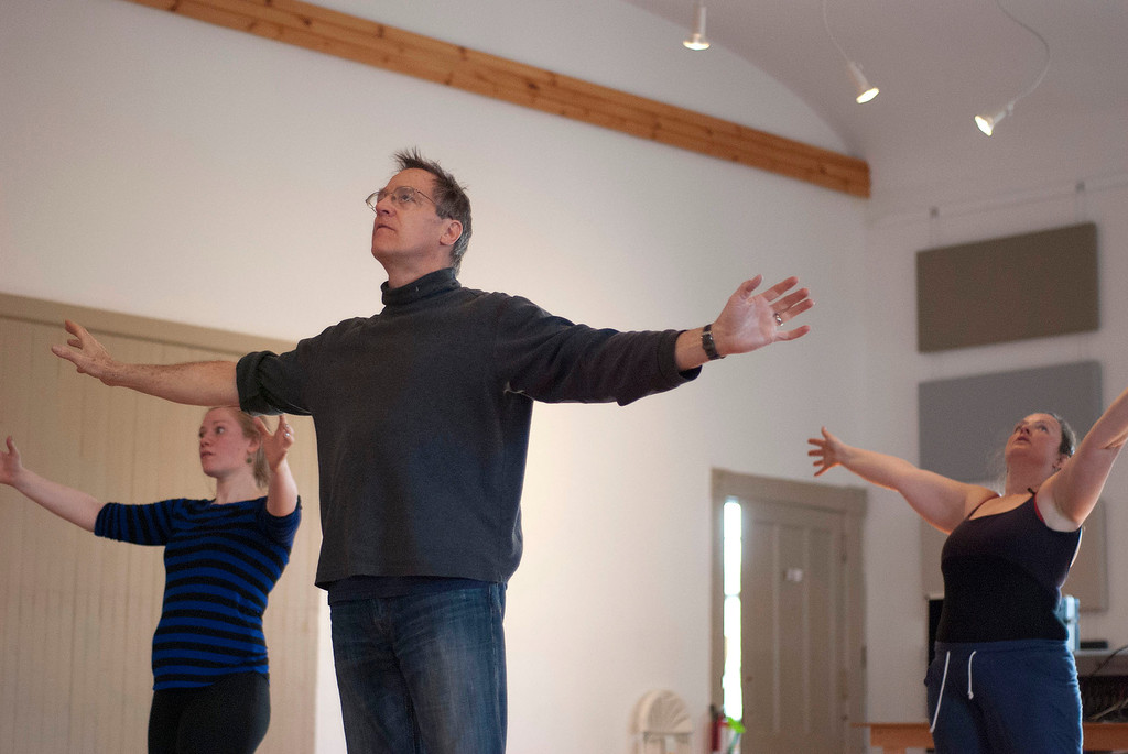 Description of . Kayla Rice/Reformer                                 IBIT (Intrinsic Beauty of Invisible Things) instructor Donlin Foreman gives dancers Genevieve Amarante (left) and Brenda Lynn Siegel help during a rehearsal in Brattleboro on Tuesday afternoon.