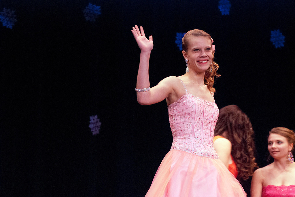 Description of . Kayla Rice/Reformer Nicole Koziara walks the runway during the 2014 Brattleboro Winter Carnival's Queen's Pageant on Friday night.