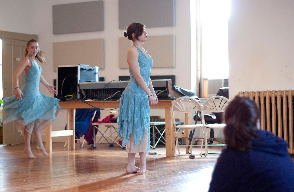 Description of . Kayla Rice/Reformer                                 Dancers (from left) Sequoyah Stevens-Mills, 13, and Kestrel Osman, 15, from IBIT (Intrinsic Beauty of Invisible Things) rehearse at their Elliot St. studio in Brattleboro on Tuesday afternoon.