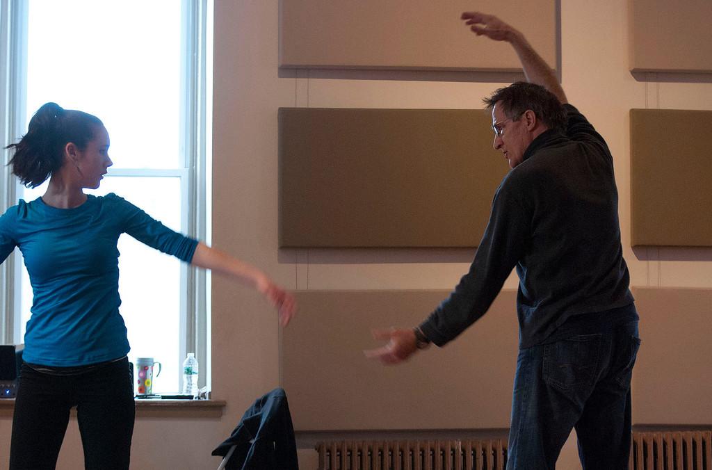 Description of . Kayla Rice/Reformer                                 IBIT (Intrinsic Beauty of Invisible Things) instructor Donlin Foreman gives dancer Zoe Flagollet, 16, help during a rehearsal at their Elliot St. studio in Brattleboro on Tuesday afternoon.