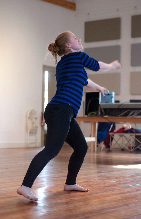 Description of . Kayla Rice/Reformer                                 IBIT (Intrinsic Beauty of Invisible Things) dancer Genevieve Amarante rehearses in Brattleboro on Tuesday afternoon.