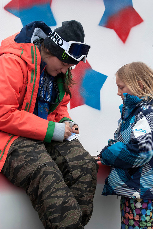 Description of . Kayla Rice/Reformer                                 Elaina Krusiewski, 8, of Dover gets an autograph from Mount Snow athlete and Olympic silver medalist Devin Logan before the