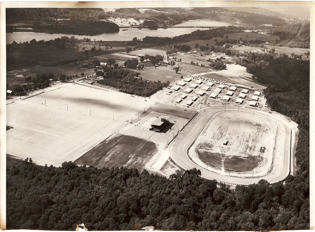 Description of . Hinsdale Raceway, aerial view 1958 (courtesy the Hinsdale Historic Society)