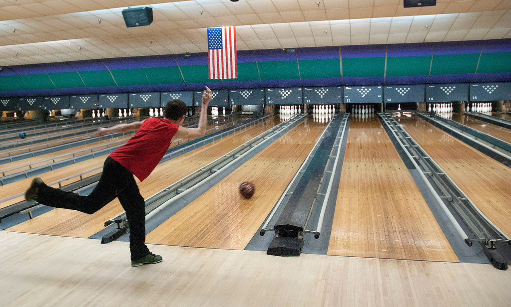 Description of . Kayla Rice/Reformer Tyrus Cobb, 14, of Vernon bowls at Brattleboro Bowl on Tuesday afternoon.
