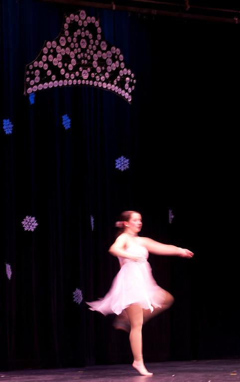 Description of . Kayla Rice/Reformer Israel Cavanagh dances for the talent portion of the 2014 Brattleboro Winter Carnival's Queen's Pageant on Friday night.