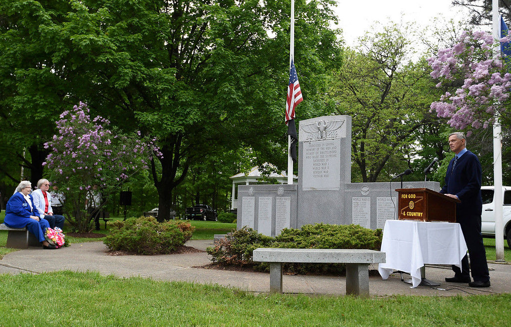 Description of . Kayla Rice/Reformer Guest speaker Dr. Robert Tortolani, a local physician and military service veteran speaks during the Memorial Day service at the Brattleboro Common on Monday morning.