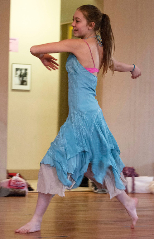 Description of . Kayla Rice/Reformer                                 Sequoyah Stevens-Mills, 13, dances during an IBIT (Intrinsic Beauty of Invisible Things) rehearsal at the Elliot St. studio in Brattleboro on Tuesday afternoon.