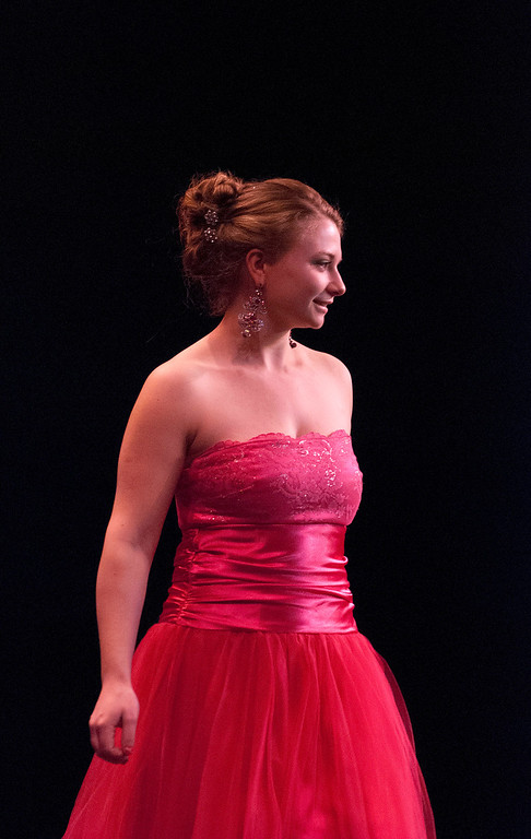 Description of . Kayla Rice/Reformer Marissa Semenovich during the evening gown portion of the 2014 Brattleboro Winter Carnival's Queen's Pageant on Friday night.