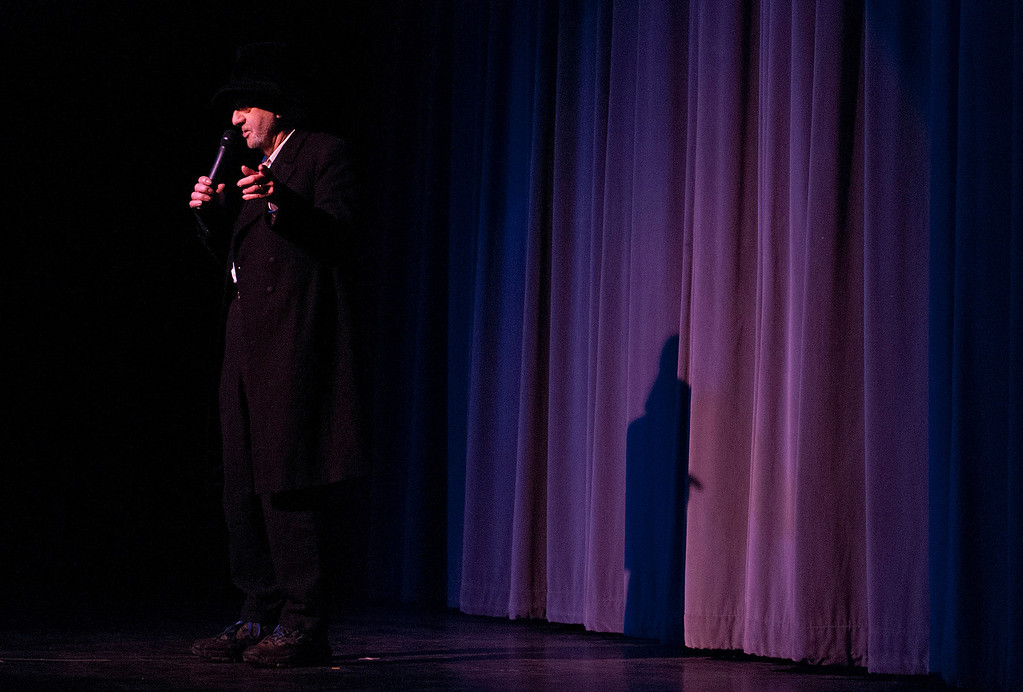 Description of . Kayla Rice/Reformer Comedian Loren Mills performs at the Winter Carnival variety show on Tuesday evening.