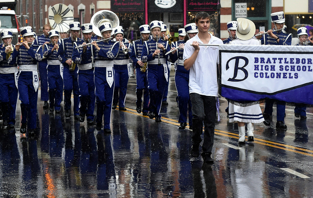 Description of . Kayla Rice/Reformer Members of the Brattleboro Union High School band march in the Fourth of July parade in Brattleboro on Friday.
