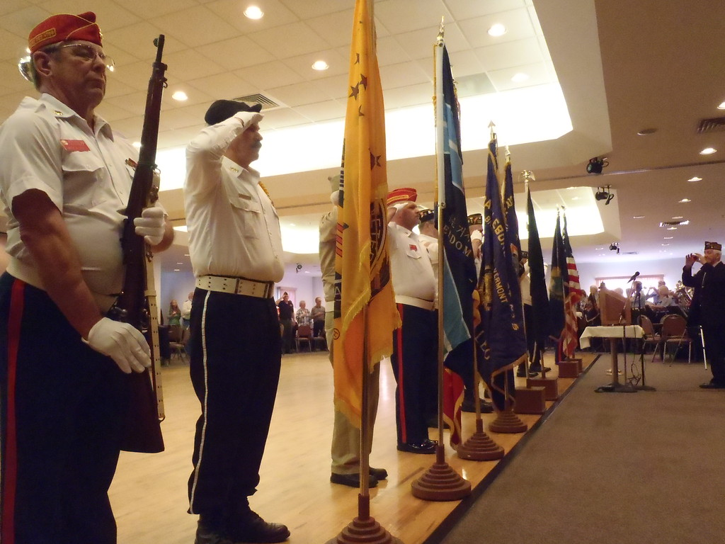 Description of . Mike Faher/Reformer A Veterans Day ceremony was held at the Carl M Dessaint VFW Post 1034 in Brattleboro on Monday morning.