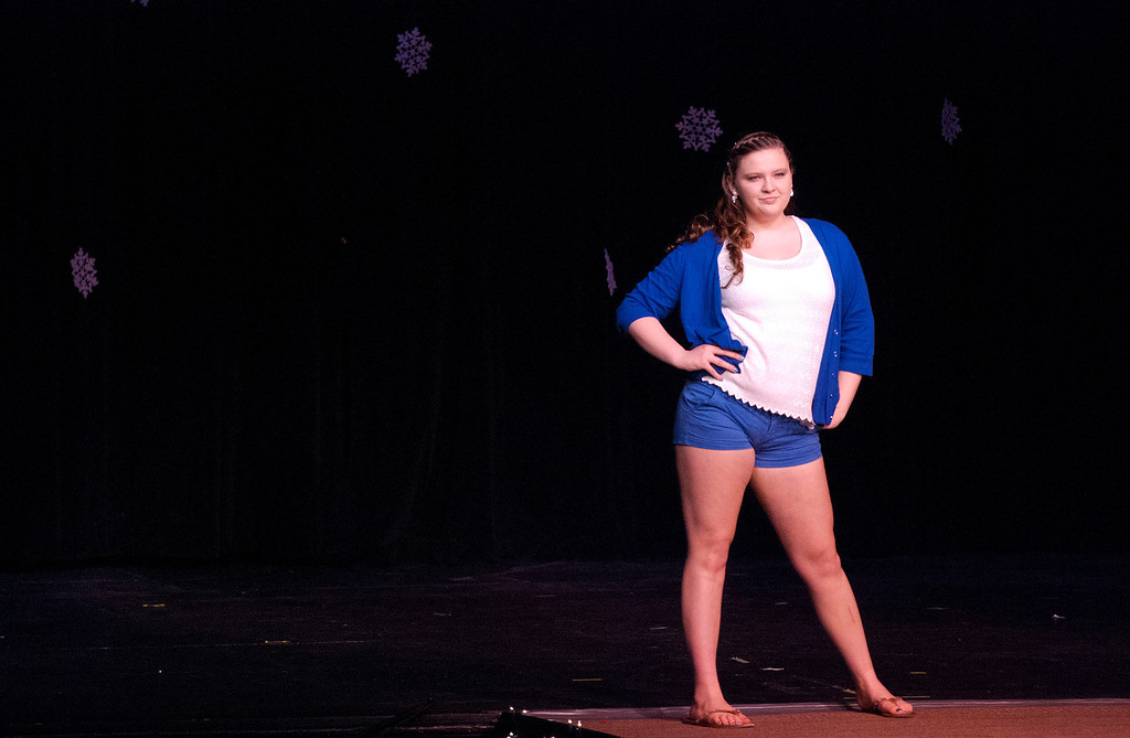 Description of . Kayla Rice/Reformer Taylor Wyckoff poses on the runway during the 2014 Brattleboro Winter Carnival's Queen's Pageant on Friday night.