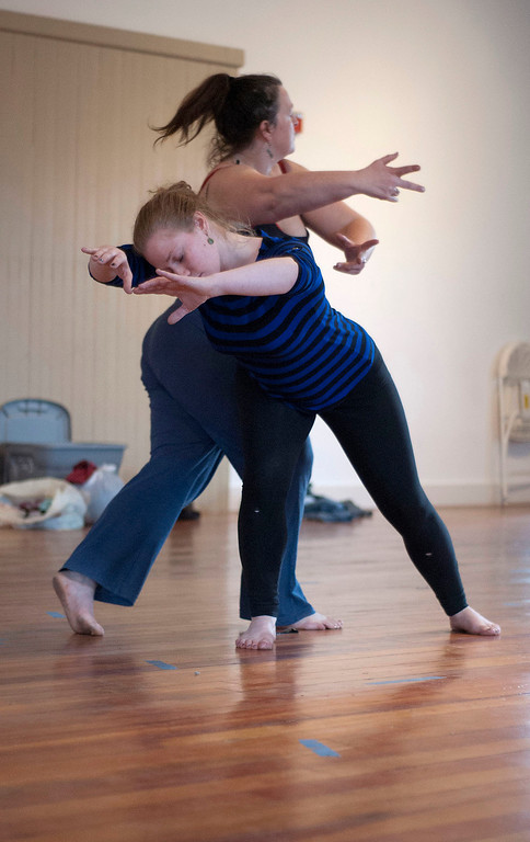 Description of . Kayla Rice/Reformer                                 IBIT (Intrinsic Beauty of Invisible Things) dancers Genevieve Amarante and Brenda Lynn Siegel dance during a rehearsal in Brattleboro on Tuesday afternoon.