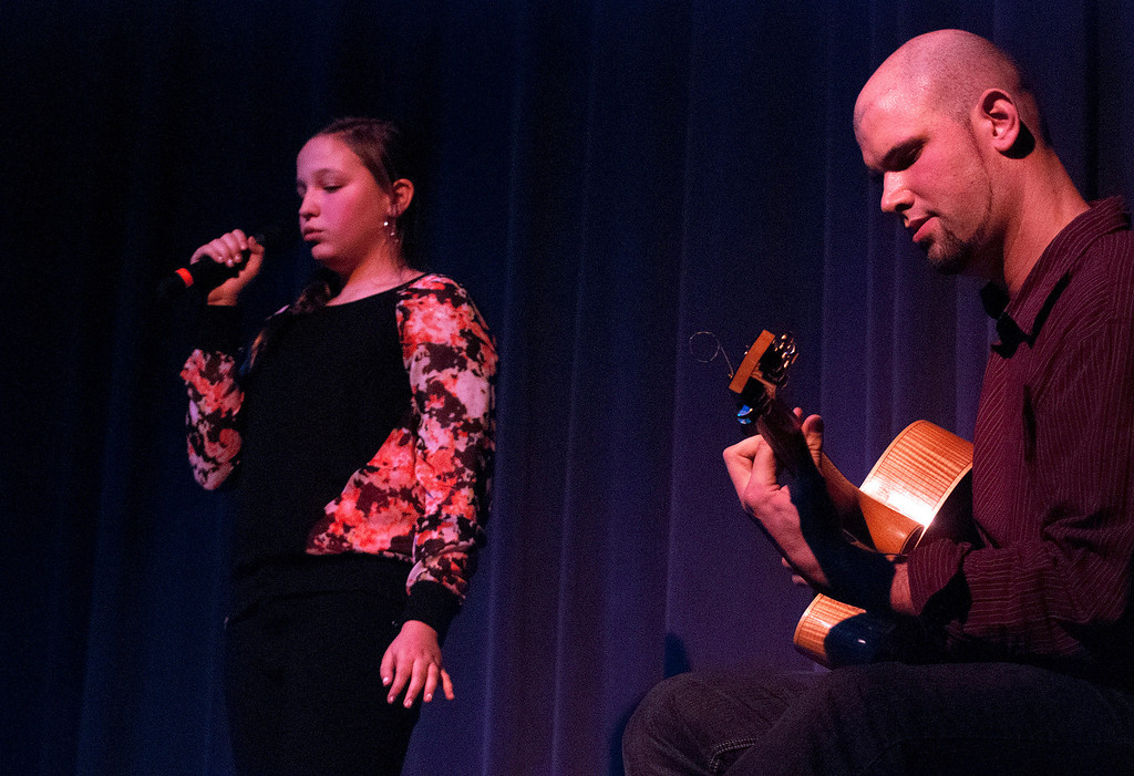 Description of . Kayla Rice/Reformer Lauryn Sargent and David Wheeler perform during the Winter Carnival variety show on Tuesday evening.