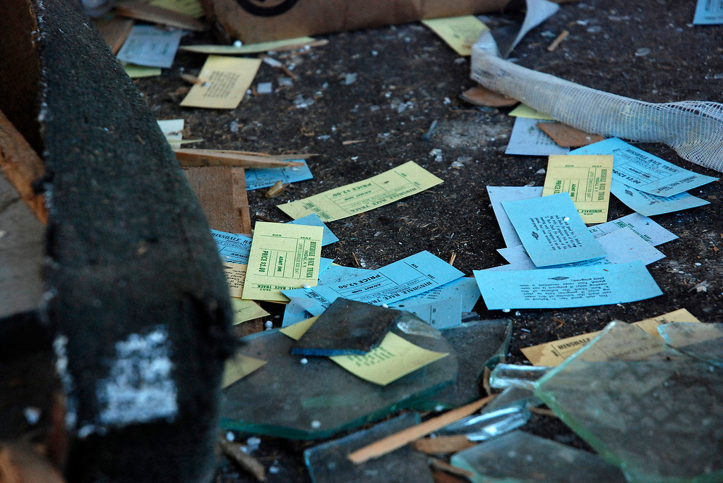 Description of . Kayla Rice/Reformer Tickets litter the floor inside the site that was once Hinsdale Greyhound Park. The race track opened for horse racing in 1958 and closed in 2008 after transitioning to a greyhound race track.