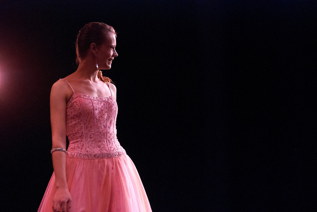 Description of . Kayla Rice/Reformer Nicole Koziara during the evening gown portion of the 2014 Brattleboro Winter Carnival's Queen's Pageant on Friday night.