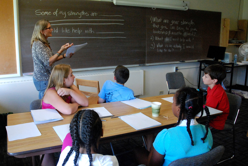 . Kayla Rice/Reformer                                 Oak Grove School\'s counselor, Kathryn Mason, gives instruction to incoming 6th grade students from Oak Grove School during the WSESU middle school leadership conference at SIT on Tuesday.