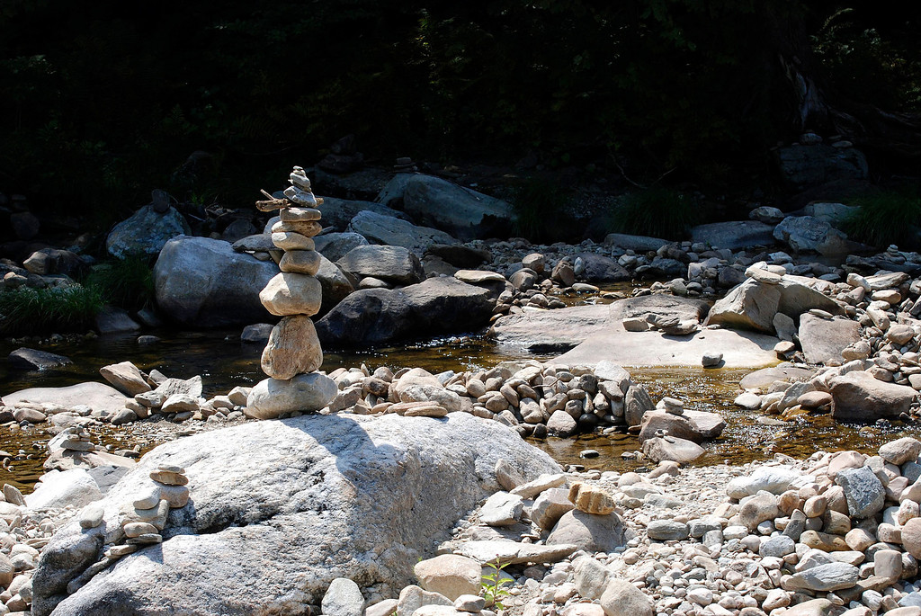 . Kayla Rice/Reformer                                 A cairn in the river on Route 30 in Jamaica.