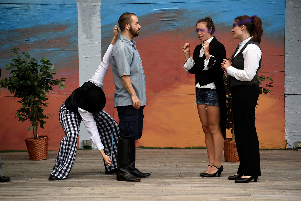 ". Kayla Rice/Reformer (L-R) Cristin Rosinski (Touchstone), Skylar Heathwaite (Orlando), Marion Major (Celia) and Katy Emond (Rosalind) rehearse ""As You Like It\"" for Shakespeare in the Park on Monday evening. The performances will take place June 26-29 at Living Memorial Park."