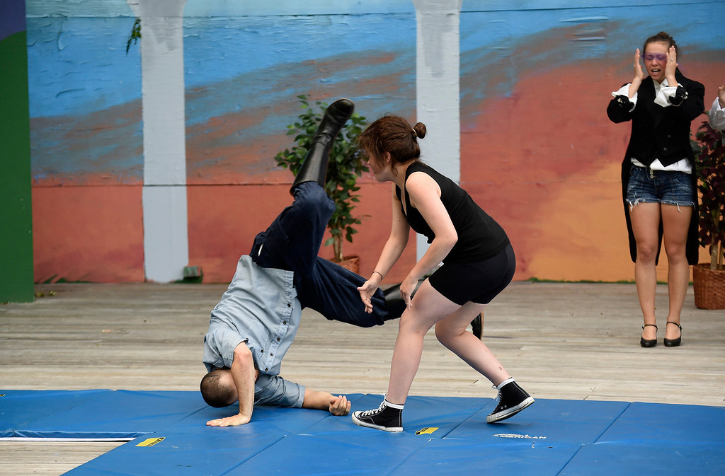 ". Kayla Rice/Reformer Kate Maisner (Charles) and Skylar Heathwaite (Orlando) rehearse ""As You Like It\"" for Shakespeare in the Park on Monday evening. The performances will take place June 26-29 at Living Memorial Park."
