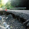 Kayla Rice/Reformer                                <br /> Part of the road was washed out on Leach Rd. in Saxtons River.