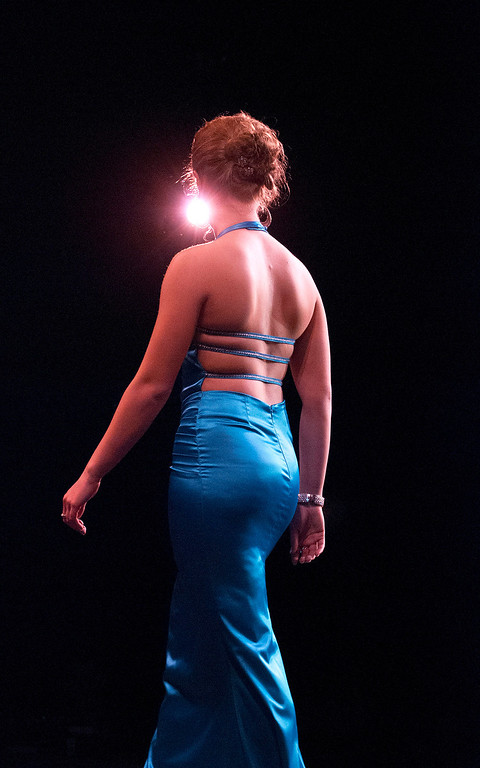 . Kayla Rice/Reformer Jenna Martin during the evening gown portion of the 2014 Brattleboro Winter Carnival\'s Queen\'s Pageant on Friday night.