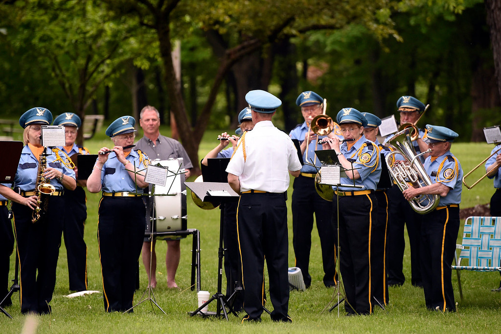 . Kayla Rice/Reformer The American Legion band performs during the Memorial Day service at the Brattleboro Common on Monday morning.