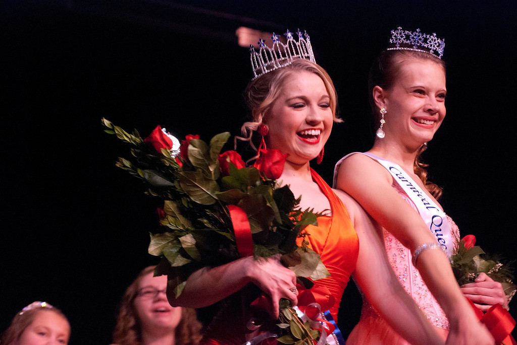 . Kayla Rice/Reformer Fan favorite winner Nicole Koziara and 2014 Winter Carnival Queen Kara Walsh after being crowned at the 2014 Winter Carnival Queen\'s Pageant on Friday evening.