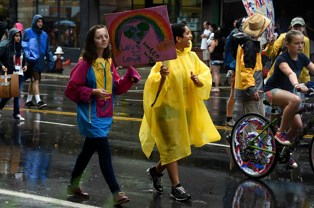 . Kayla Rice/Reformer Students from the Governor\'s Institute of Vermont walk in the Brattleboro Fourth of July parade on Friday.