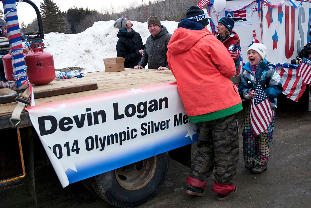 ". Kayla Rice/Reformer                                 Elaina Krusiewski, 8, of Dover laughs while talking to Mount Snow athlete and Olympic silver medalist Devin Logan before the ""Devin Day\"" parade and celebration in Dover on Saturday."