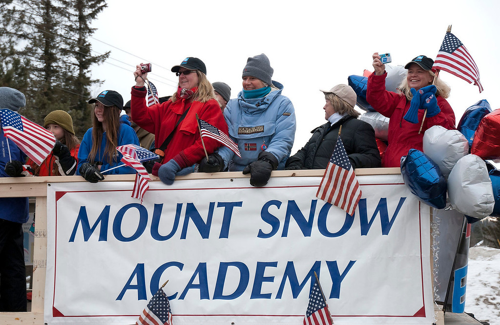 ". Kayla Rice/Reformer                                 Mount Snow Academy rides in the ""Devin Day\"" parade in Dover on Saturday."