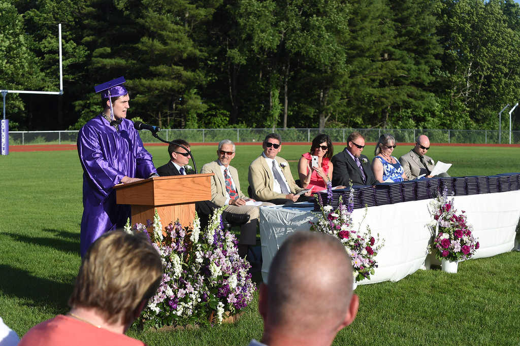 . Kayla Rice/Reformer Salutatorian Ethan Reichsman speaks at the BUHS graduation ceremony on Friday evening.