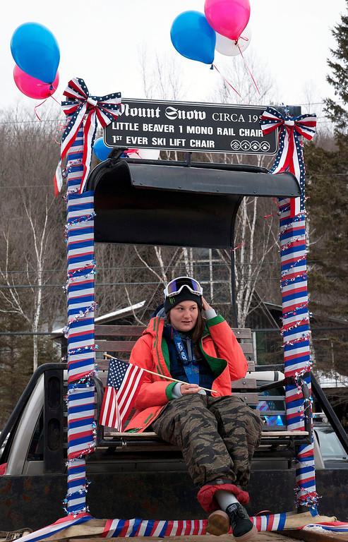 ". Kayla Rice/Reformer                                 Mount Snow athlete and Olympic silver medalist Devin Logan rides in the ""Devin Day\"" parade in Dover on Saturday."