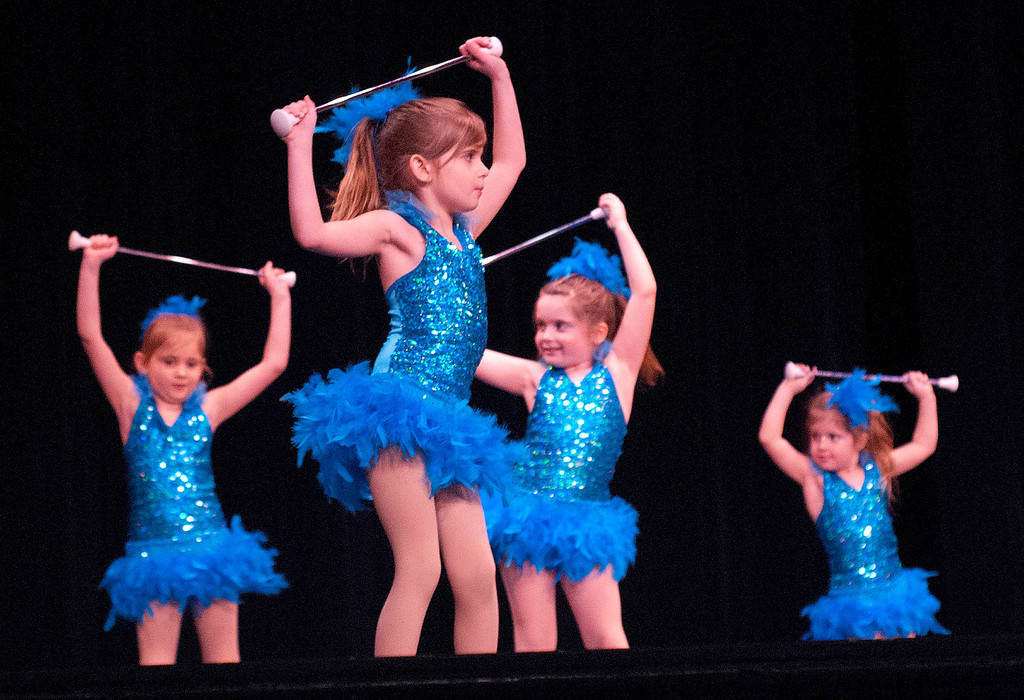 . Kayla Rice/Reformer Twirlers from Brattleboro Area Batons perform during the Winter Carnival variety show on Tuesday evening.